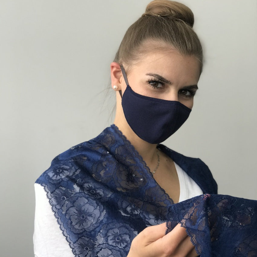Maske | Oval Slim | Dark Blue | 2-Lagig | Comfy Cotton