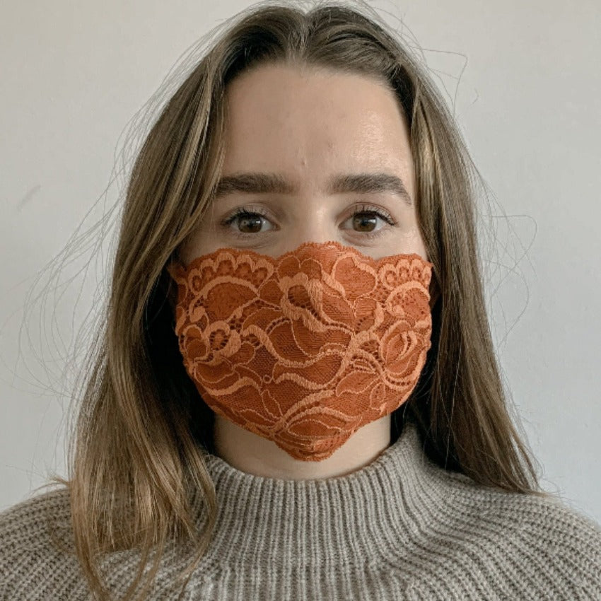 Maske | Tulips | Orange | 2-Lagig | One Size