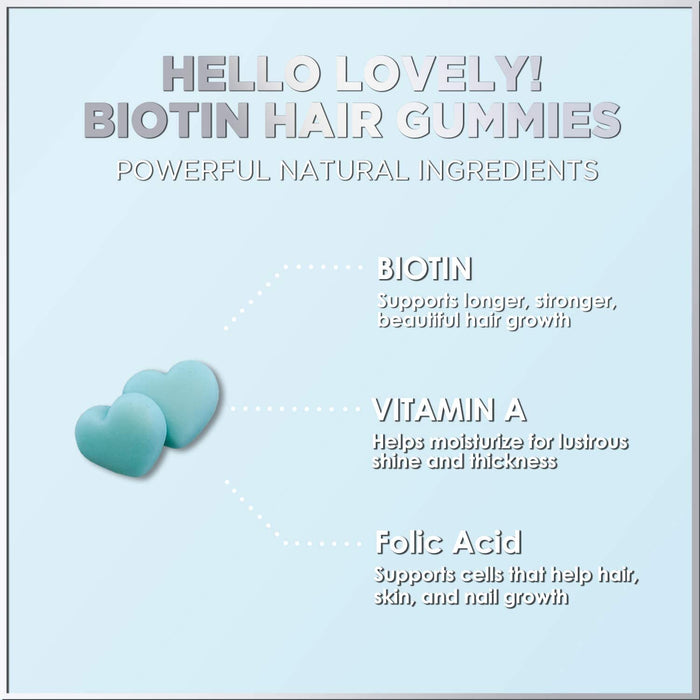 Biotin Hair Gummy Vitamins 5000 mcg, Vitamin E, C to Support Hair Growth, Premium Pectin-Based, Non-GMO, Supports Strong, Healthy Hair and Nails - Blue Berry Supplement