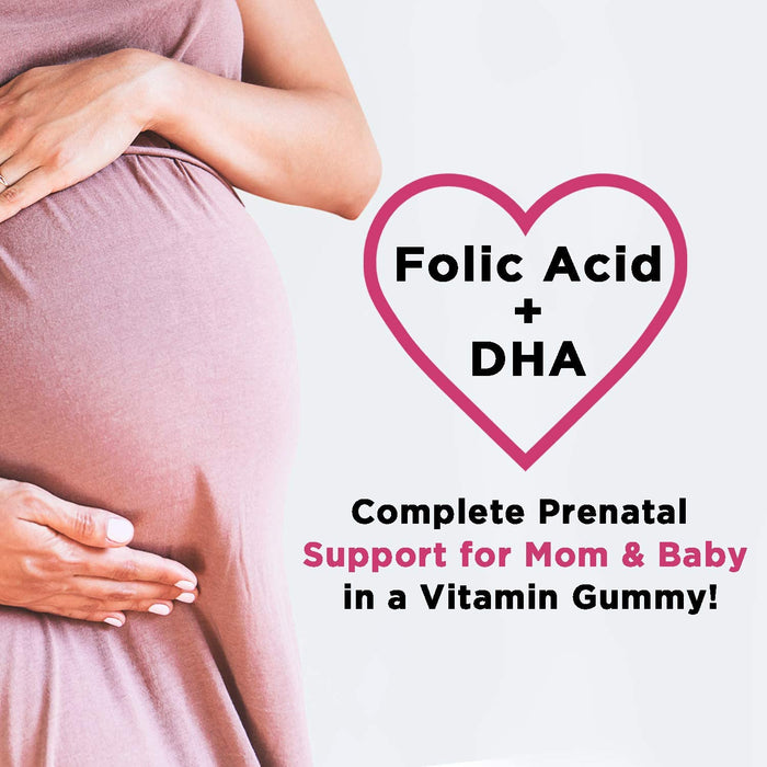 Folic Acid Gummies for Women, Extra Strength Prenatal Multivitamin with Epa and Dha, Chewable Folate Nutrition Supplement for Before, During, and After Pregnancy - 60 Gummies