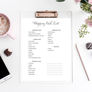 Wedding Day Pack List | Freebie