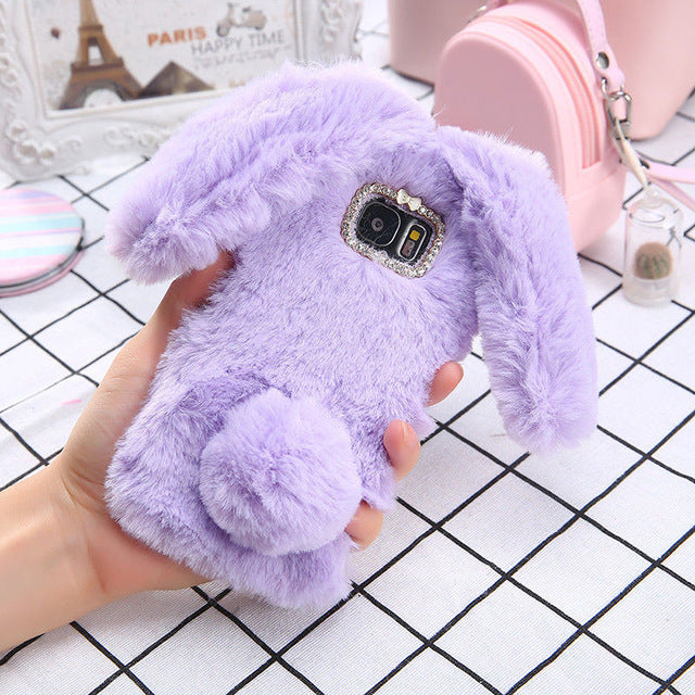on sale 0523d 30142 Super Soft 3D Fluffy Rabbit Ears Phone Case For Samsung Galaxy J3 J5 J7 2016