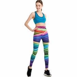 Rainbow Stripes leggings - Cool Printed Leggings