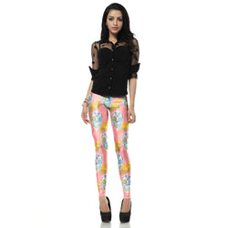 Skull Heads w/ Yellow Roses leggings - Cool Printed Leggings