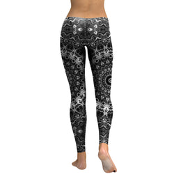 Black Flowers leggings - Cool Printed Leggings