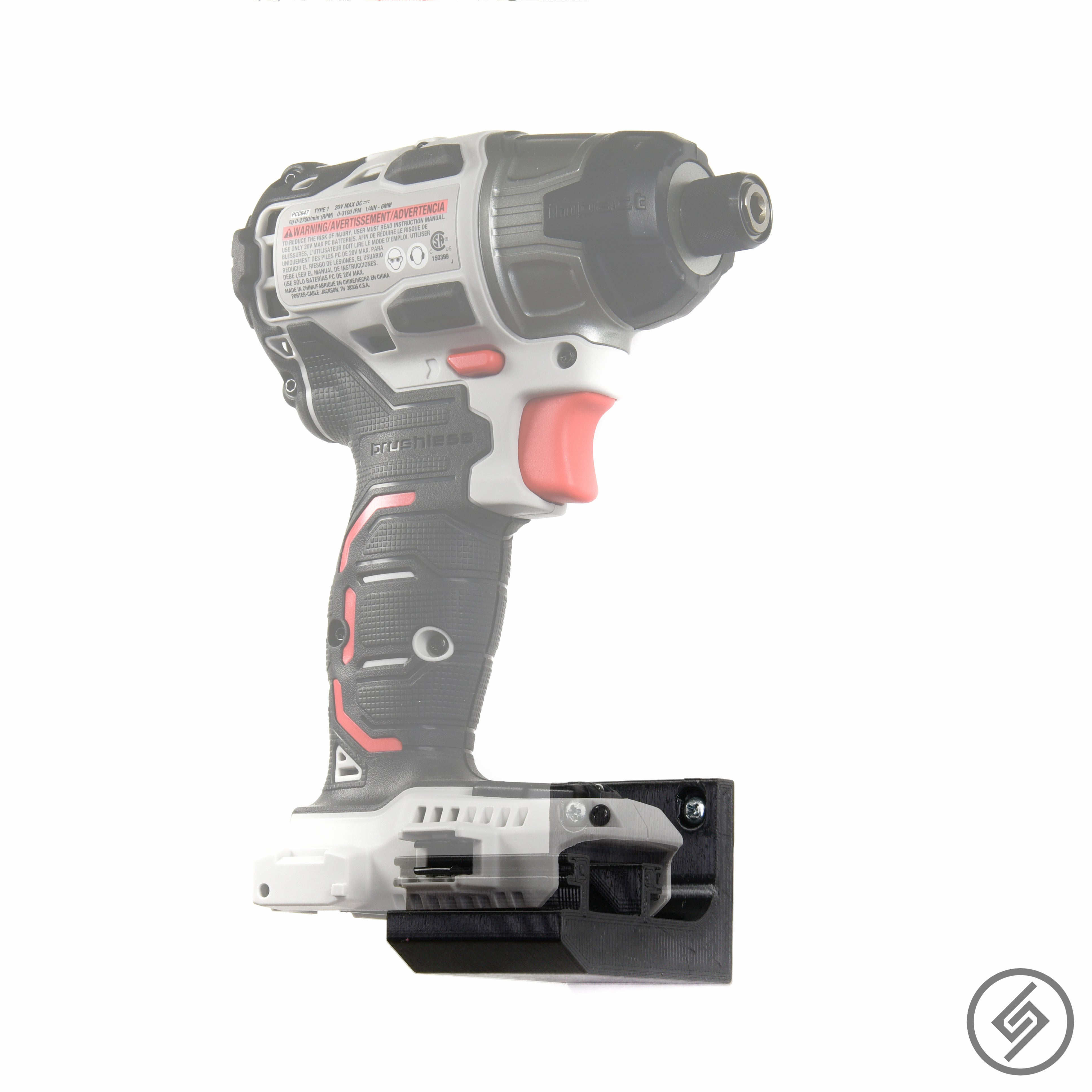 Wall Mount for all sizes of the PORTER CABLE 20V Power Tools, Right, Transparent, Spartan Mounts
