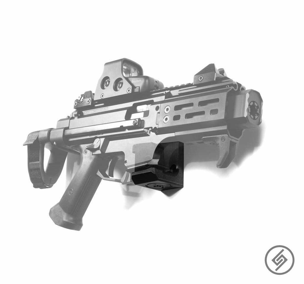 CZ Scorpion EVO 3 Wall Mount, Right, Transparent, Spartan Mounts Rifle Display