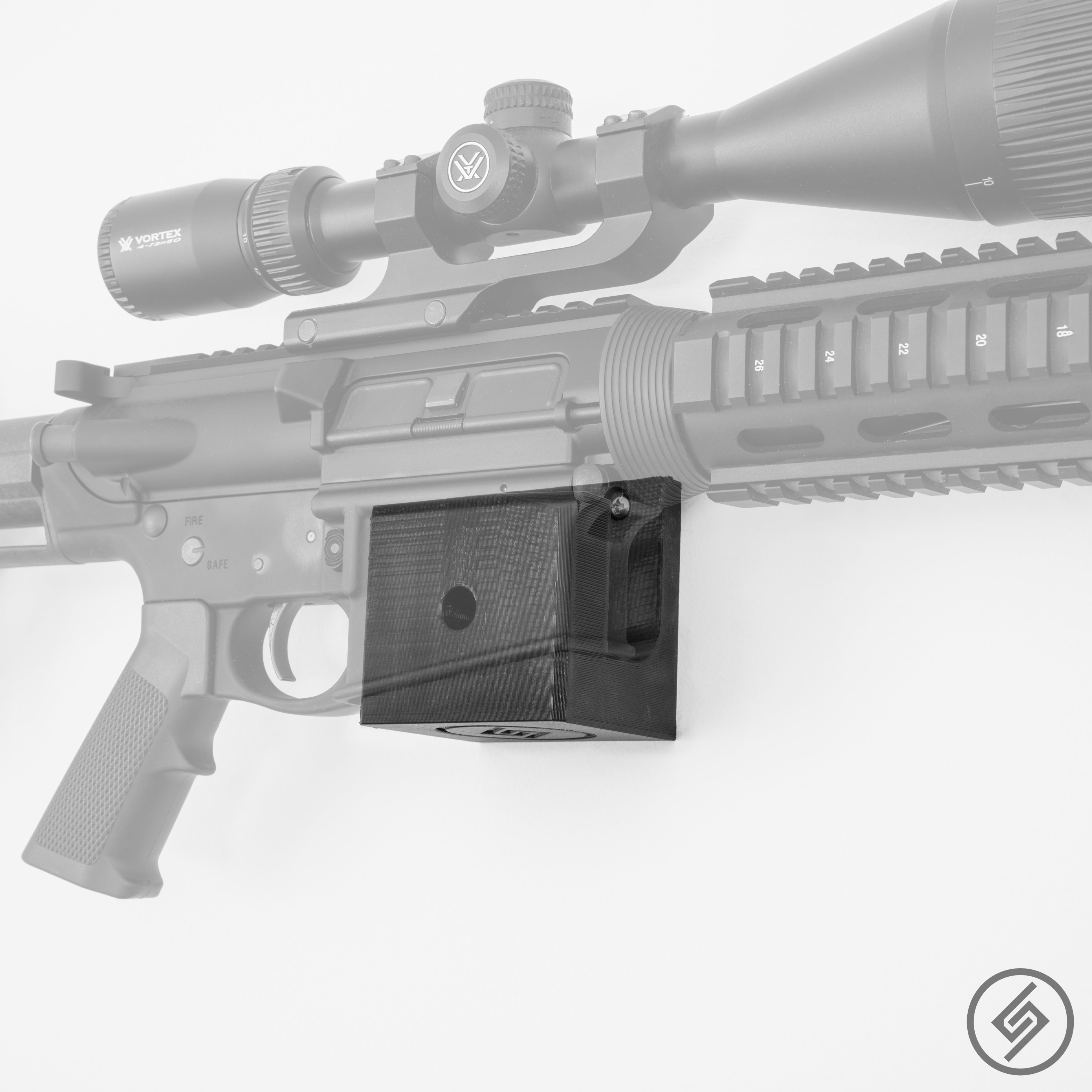 AR-10 Wall Mount, Right, Transparent, Spartan Mounts