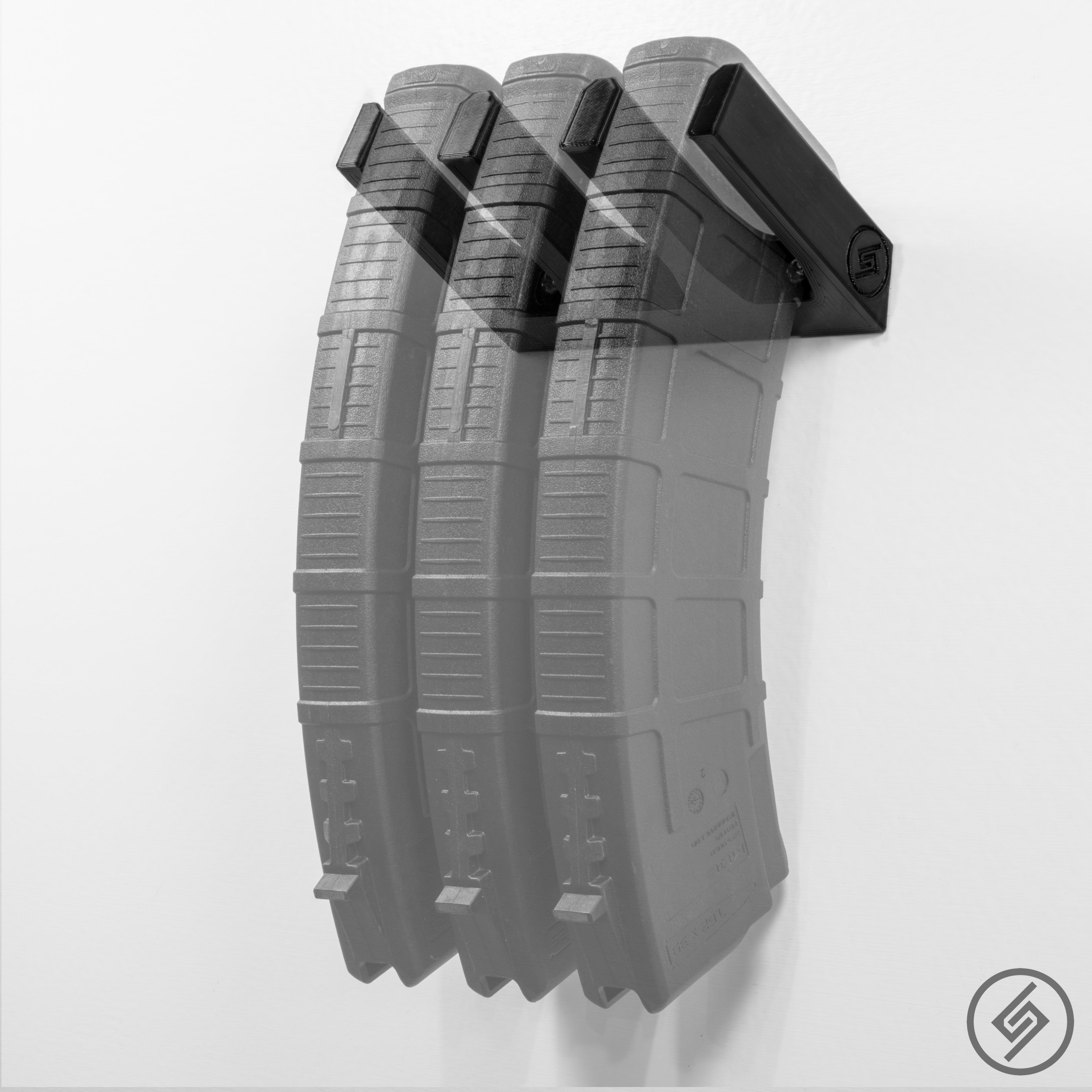 Mount for 3 AK-47 7.62x39 PMAG magazines, Spartan Mounts, Transparent