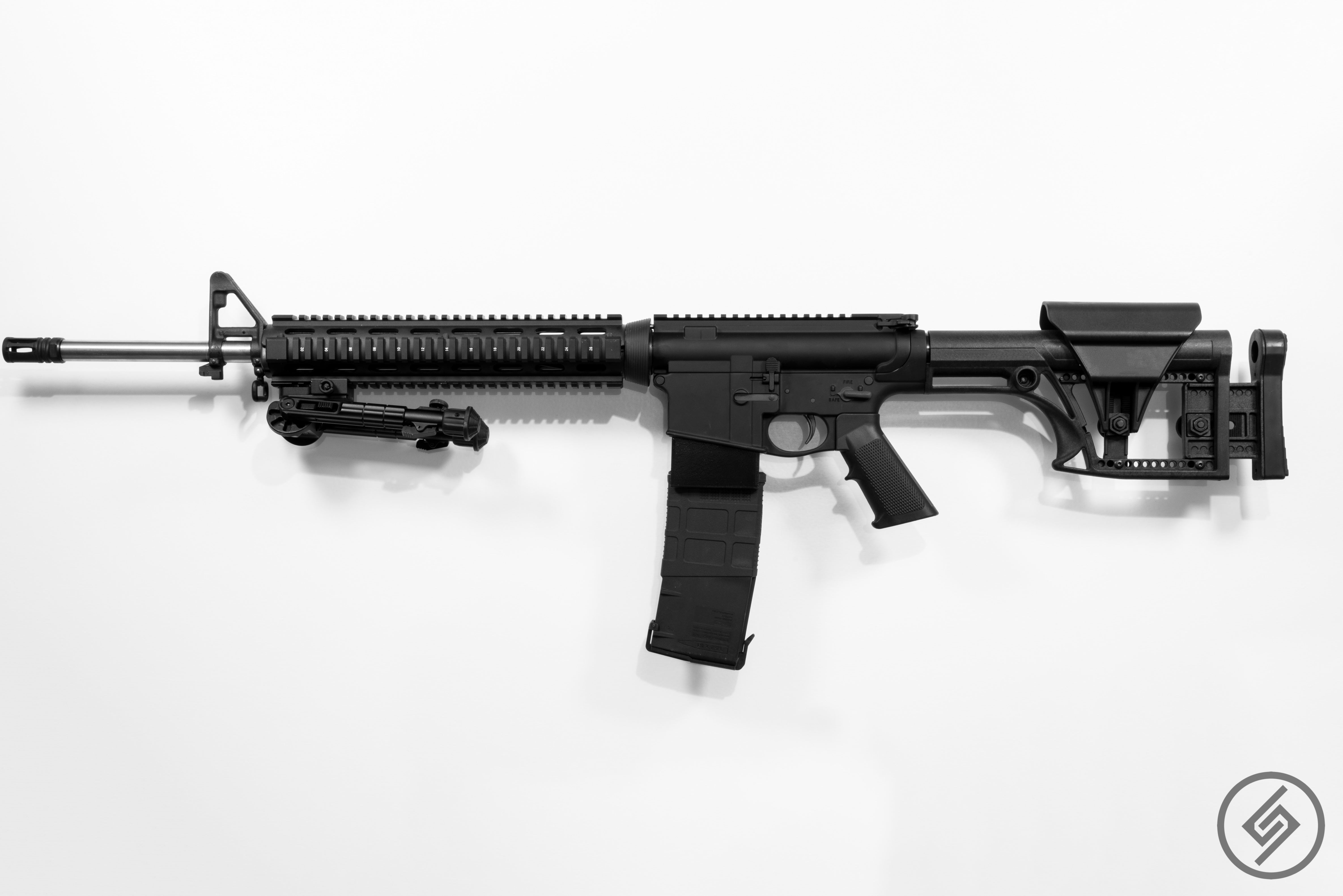 AR-10 + PMAG Wall Mount, Full View, Left, Spartan Mounts