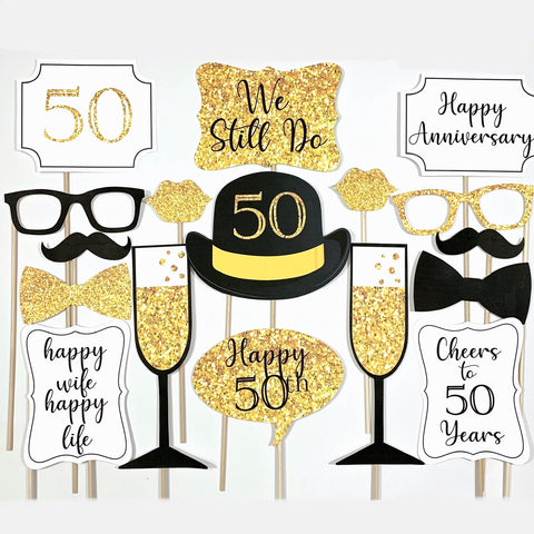 50th Wedding Anniversary Photo Booth Props