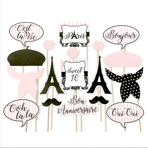 Paris Sweet 16 Themed Photo Booth Props