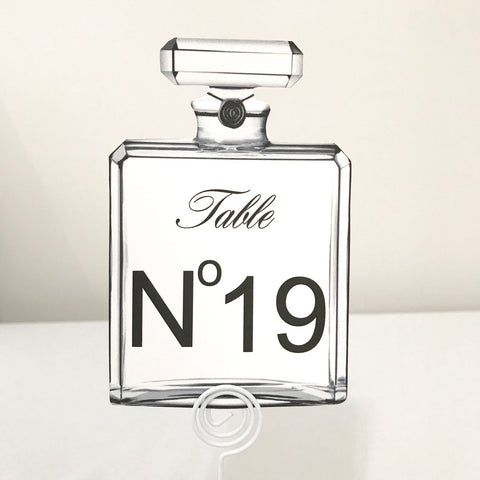 Coco Chanel Perfume Themed Table Number Sign
