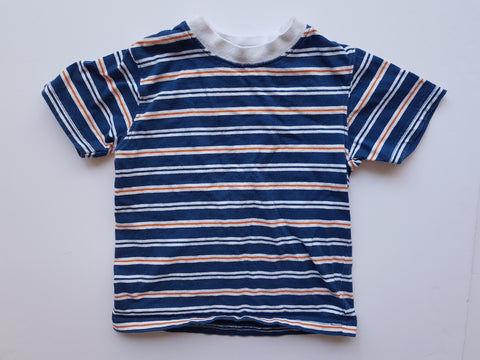 Blue, Orange and White Striped Tee (2T)