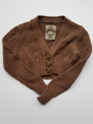 Milk-chocolate-brown Cropped Cardigan (XS)