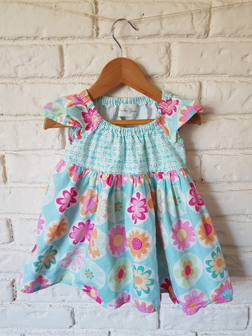 Handmade Floral Turquoise Dress