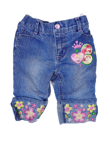 Embroidered Disney Princess Jean Shorts (3T)