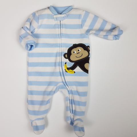 Blue and White Monkey Fleece Sleeper (NB)