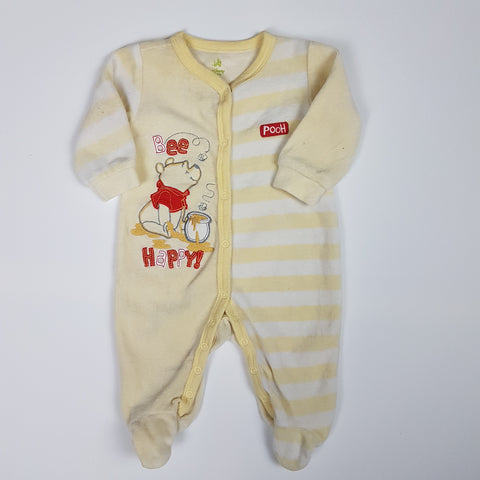 White and Yellow Striped Pooh Sleeper (Newborn)