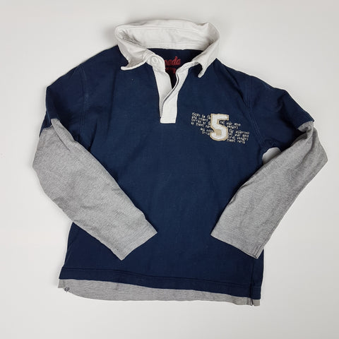 Navy Blue and Grey Rugby Shirt #5 (Size 6)