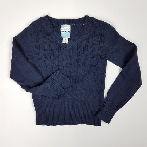 Navy Cable-Knit Cotton Sweater (Size 5)