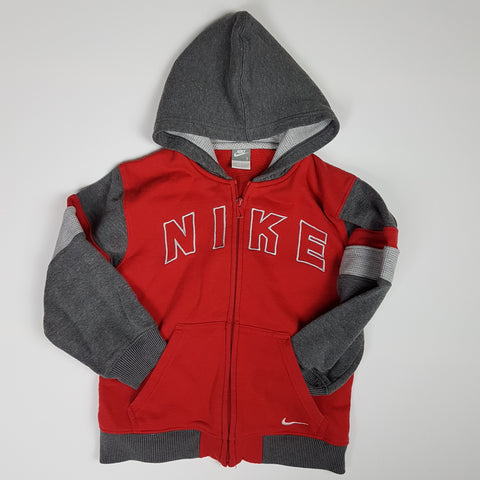 Red and Grey Nike Hoodie (Size 7)