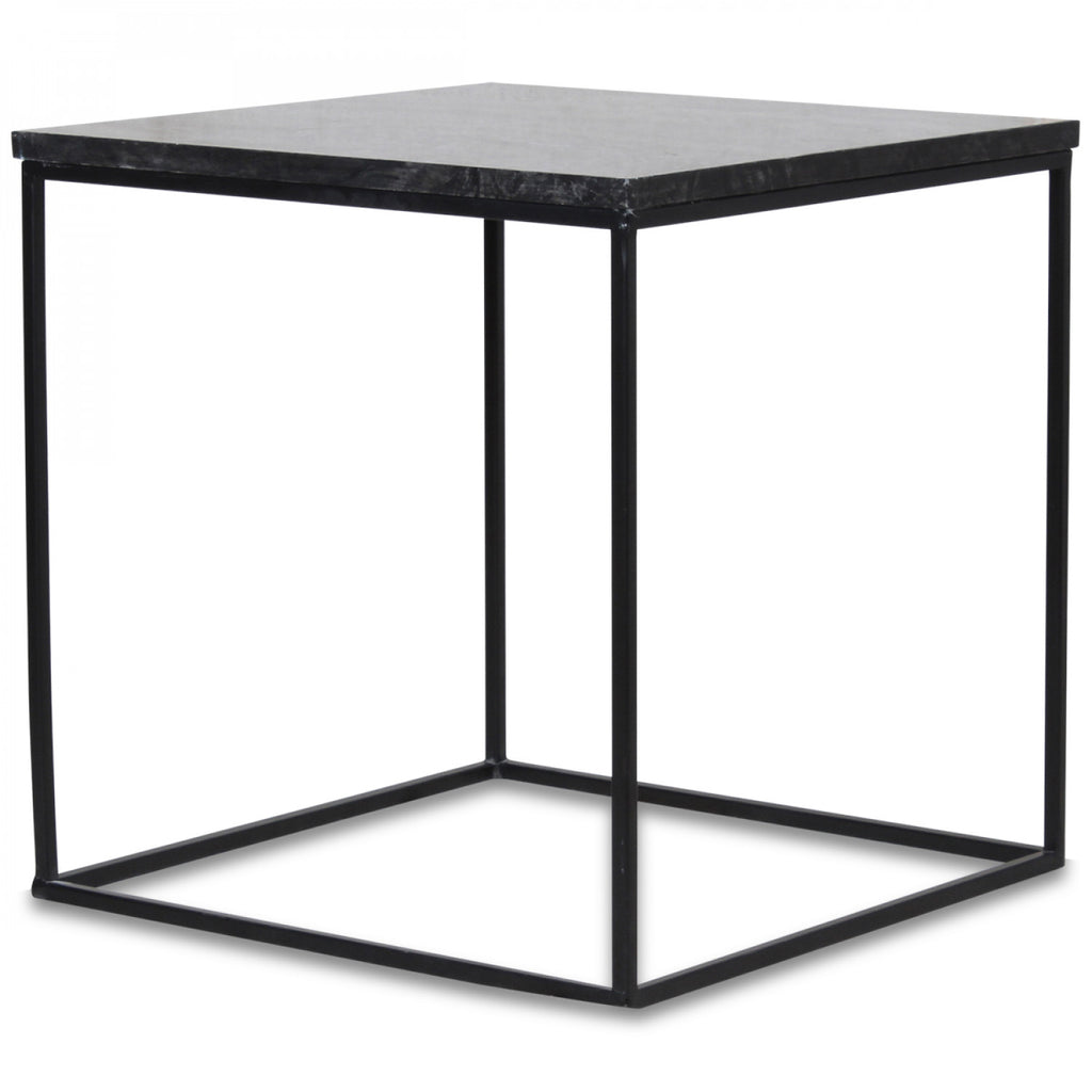 table d 39 appoint en marbre noir square 40x40x39cm bazar deco. Black Bedroom Furniture Sets. Home Design Ideas