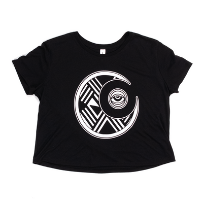 Black crop tshirt with a white abstract design of the moon