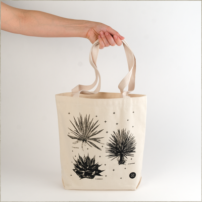 Mezcal tote bag natural canvas and black ink