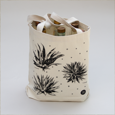 agave plants printed in black ink on natural canvas tote bag
