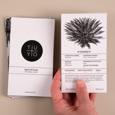 Agave ID cards for mezcal