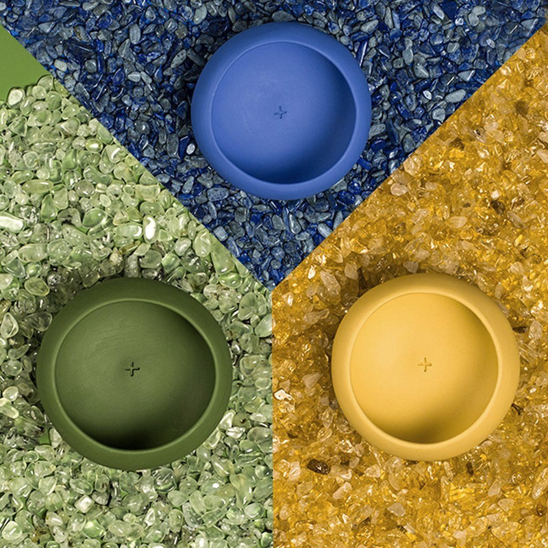 Set of blue, green and yellow copitas for drinking mezcal