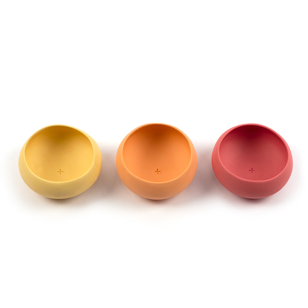 Set of yellow, orange and red copitas for drinking mezcal
