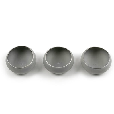 Set of three light grey and silver copitas for drinking mezcal