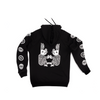black organic cotton hoodie with two white rabbits printed on the back and eyeballs printed on the sleeves