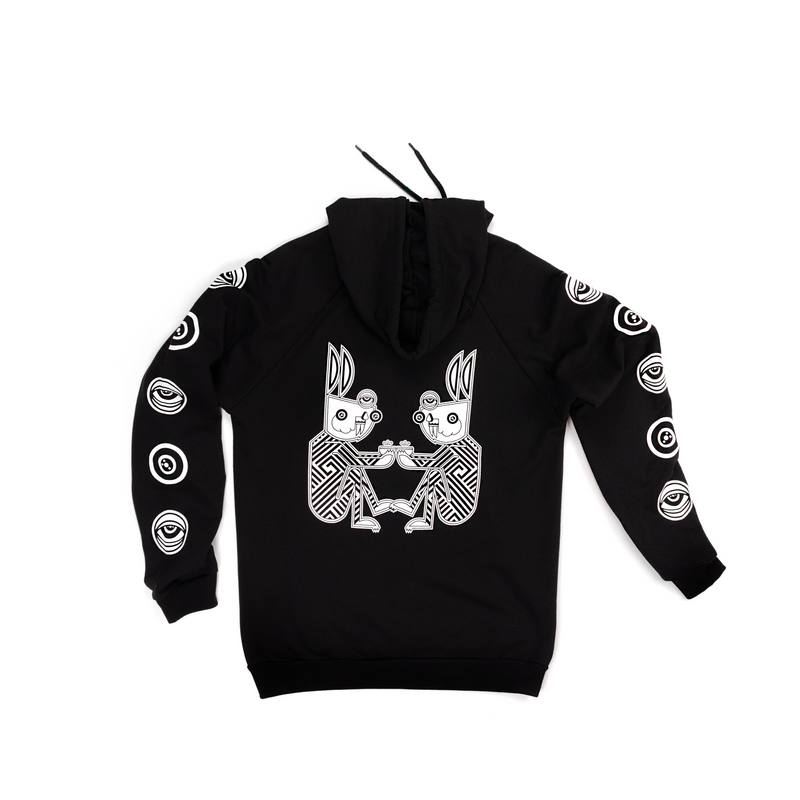 Tochtli rabbits printed in white on a black hoodie