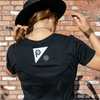small logo on the back of the black crop tee