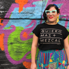 Quiero Mas Mezcal black organic cotton T-shirt size medium