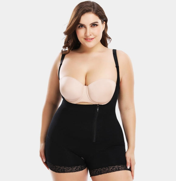 Plus Size Full Body Zip Shaper with Butt Lifter - Easy Bathroom Access