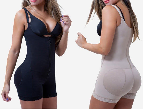 Full Body Shaper with Zipper - Slimming Bodysuit with Butt Lifter