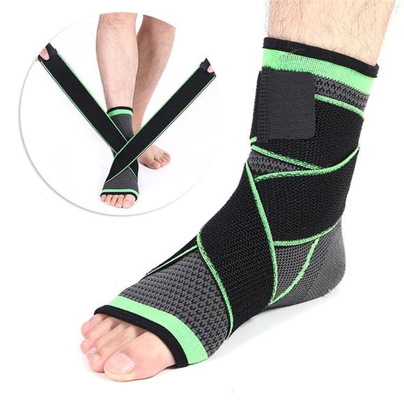 Ankle Brace - Compression Support Sleeve - Adjustable Stabilizer Straps