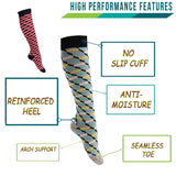 Fun Striped Compression Socks 20-30 mmHg for Circulation, Swelling & Energy