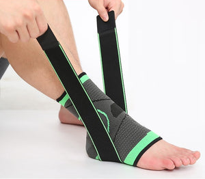 Ankle Brace - Compression Support Sleeve with Adjustable Stabilizer Straps