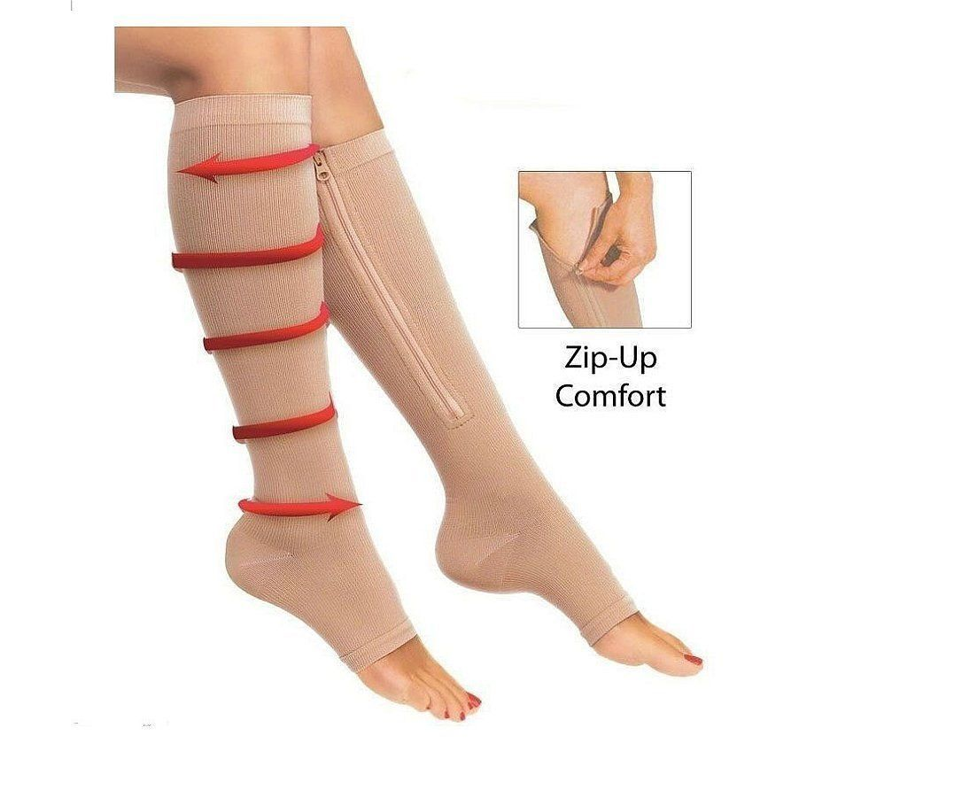 3478b84c93 Open Toe Zipper Graduated Compression Sock Toeless Knee High Stockings 20-30  mmHg - StabilityPro