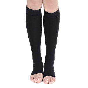 Open Toe Knee High Graduated Compression Socks Leg Sleeve Toeless Stockings - StabilityPro™