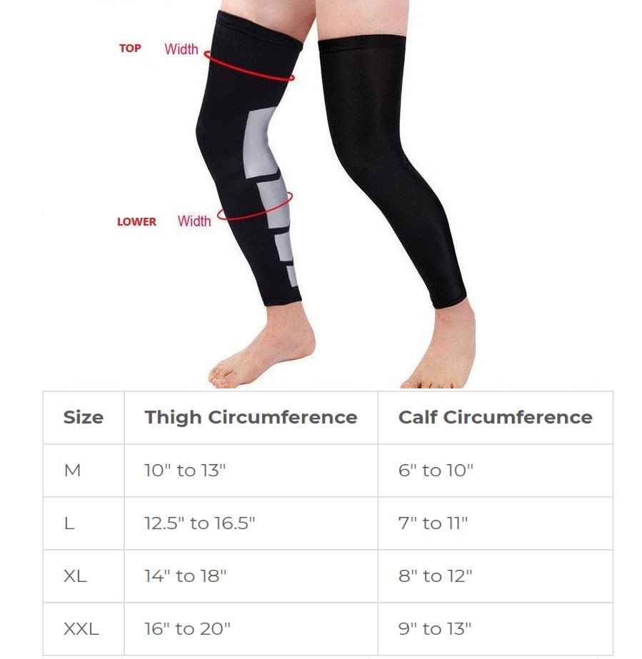 75e4ecbfb9 Thigh High Compression Leg Sleeves for Knee Hamstring Quad Calf Support