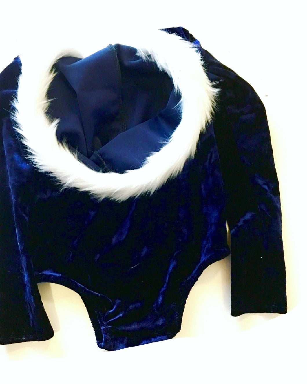 Fur-trimmed Hooded Velvet Leotard NAVY (XMAS ORDERS CLOSED)