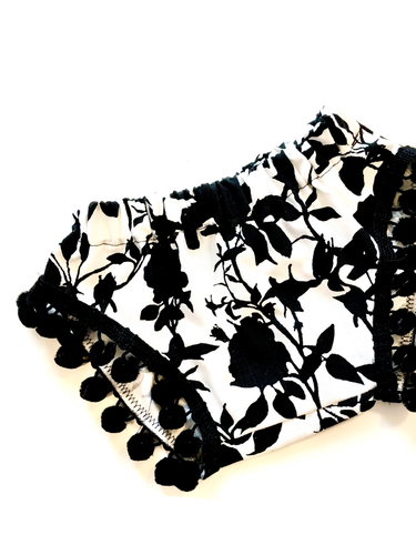 READY TO SHIP Monochrome Floral Pom Shorties