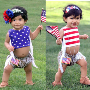 2-sided Stars and Stripes Crop Top