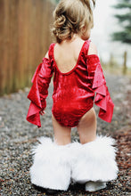 READY TO SHIP Shimmering Red Velvet Ruffle Leotard